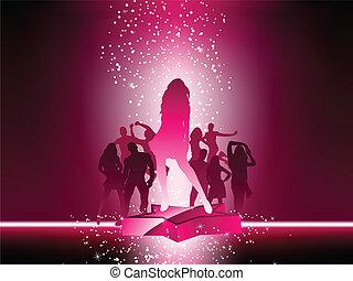 rosa star, folkmassa, dansande, flygare, parti