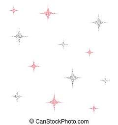 rosa star, mönster, seamless, bakgrund, glitter, silver