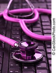 rosa, stetoscopio, su, tastiera