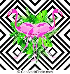 rosa, stil, flamingo, bladen, hand, tropisk, bakgrund., spegel, oavgjord, geometrisk, avbild