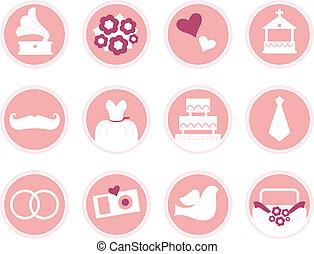 rosa, stil, heiligenbilder, ), (, freigestellt, retro, wedding, weißes