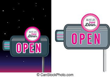 rosa, stile, commensale, vendemmia, neon, retro, signage