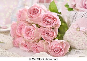rosa, stile, malvestito, mazzolino, rose, chic, romantico