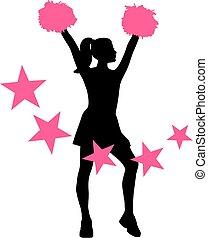 rosa, stjärnor, hejarklacksanförare