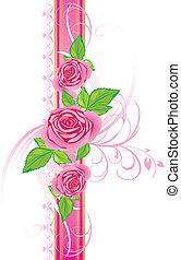 rosa strilmunstycke, med, prydnad