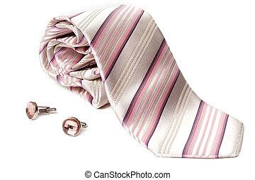 rosa, strisce, cravatta, e, collegamenti polsino