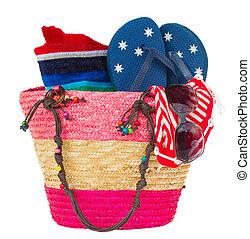 rosa, strohtasche, sonnenbaden, accessoirs