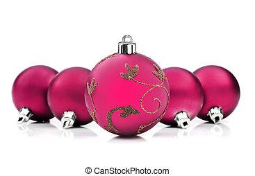 rosa, struntsak, utrymme, text, lysande, bakgrund, vit jul
