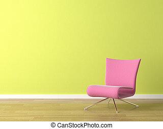 rosa, stuhl, auf, grüne wand