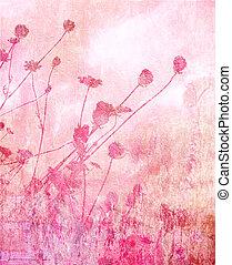 rosa, suave, verano, pradera, plano de fondo