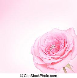 rosa subió, anillo, diamante, romántico