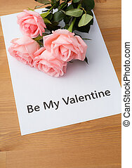 rosa subió, con, mensaje, de, ser mi valentine