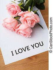 rosa subió, con, mensaje, de, te amo