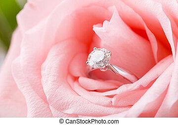 rosa subió, con, timbre de diamante