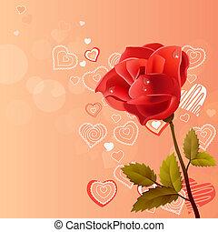 rosa subió, contorno, plano de fondo, corazones