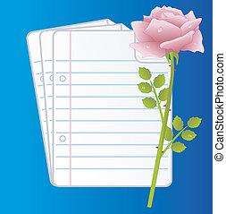 rosa subió, papel, folias