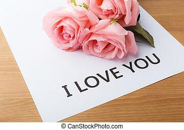 rosa subió, y, tarjeta obsequio, de, mensaje, te amo
