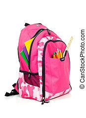 rosa, suministros, packback, escuela