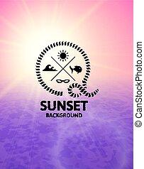 rosa, superficie, acqua, tramonto, mare, viola