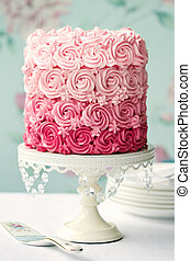 rosa, tårta, ombre