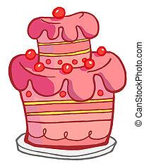 rosa, tårta