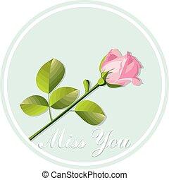 rosa, tarjeta