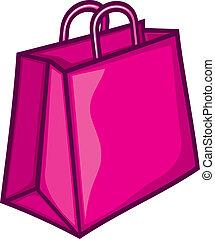 rosa, tasche, shoppen, klassisch
