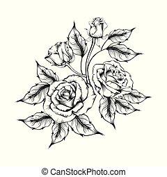 rosa, tattoo., silhouette, rose