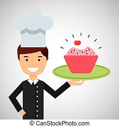 rosa, tazza, dessert, chef, torta, cartone animato