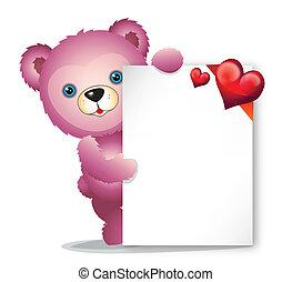 rosa, teddybär, mit, grüßen karte