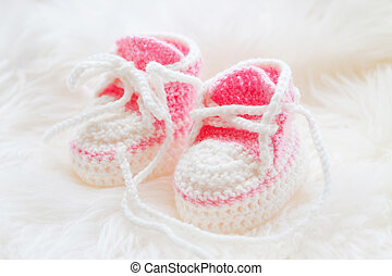 rosa, tejido, poco, fondo., shoes., velloso, hechaa mano,...