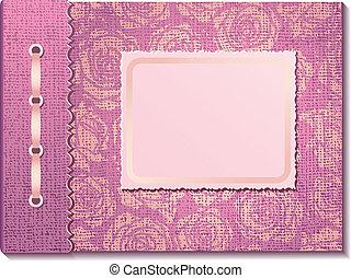 rosa, tela, cubierta, un, álbum foto