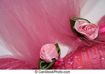 rosa, tela, rosas