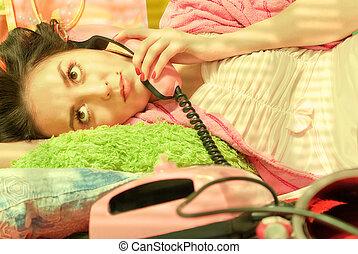 rosa, telefono, ragazza