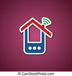 rosa, telefono, sopra, carta, casa