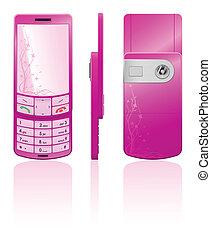 rosa, telefono, vettore, illustrazione