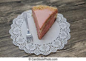 rosa, tenedor, de madera, postre, servilleta, sabroso, plano...