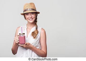 rosa, tenencia, zalamero, tarro, jarra, vaso, niña