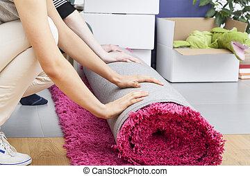 rosa, teppich, rollen