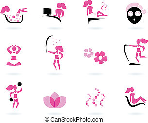 rosa, terme, icone, ), wellness, &, isolato, nero, (, bianco, sport