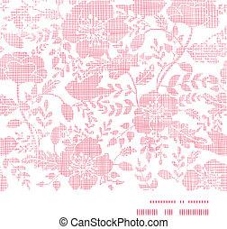 rosa, tessile, uccelli, e, fiori, orizzontale, cornice, seamless, modello, fondo