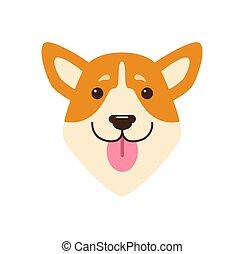 rosa, testa, illustrazione, vettore, lingua, cani