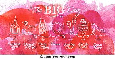 rosa, timeline, matrimonio, menu