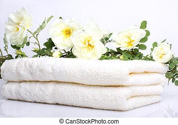 rosa, toalhas, banho