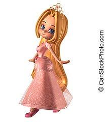 rosa, toon, princesa, bastante