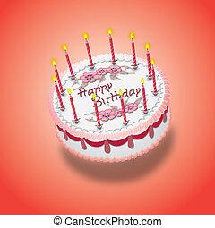 rosa, torta, compleanno