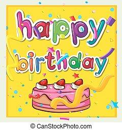 rosa, torta, scheda compleanno