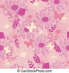 rosa, trädgård, mönster, seamless, fjärilar, bakgrund