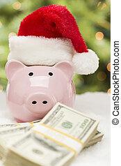 rosa, tröttsam, snowflakes., pengar, dollars, hundreds, nasse, jultomten hatt, buntar, bank