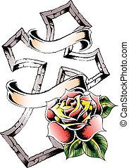 rosa, tribal, cruz